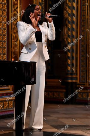 Alexandra Burke sings during the annual Commonwealth Service at Westminster Abbey in London