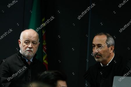 The prosecutor  Vitor Pinto (R) speaks with the Jose Antonio Barreiros (L), lawyer of the former CEO of Portugal Telecom (PT), Zeinal Bava (not pictured), during the fact-finding debate into the high-profile corruption case known as Operation Marques at the Justice Campus in Lisbon, Portugal, 09 March 2020. Operation Marques has 28 defendants - 19 people and 9 companies - including former Prime Minister Jose Socrates, banker Ricardo Salgado, businessman and friend of Socrates Carlos Santos Silva and senior staff of Portugal Telecom and is related to crimes of corruption, active and passive, money laundering, document forgery and tax fraud.