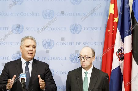 Stock Photo of Colombia's President Ivan Duque Marquez (L) talks with the press following a meeting with United Nations Secretary-General Antonio Guterres at United Nations headquarters in New York, New York, USA, 09 March 2020. At right is Colombia's Ambassador to the United Nations Guillermo Fernández de Soto.