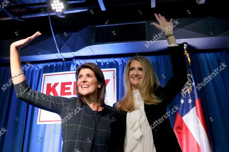 Kelly Loeffler, Nikki Haley. Sen. Sen. Kelly Loeffler, R-Ga., right, stands with former U.N. Ambassador Nikki Haley during a re-election campaign rally, in Marietta, Ga