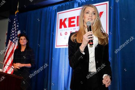 Kelly Leoffer, Nikki Haley. Sen. Kelly Loeffler, R-Ga., right, speaks as former U.N. Ambassador Nikki Haley looks on during a re-election campaign rally, in Marietta, Ga