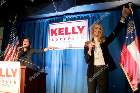Kelly Loeffler, Nikki Haley. Sen. Kelly Loeffler, R-Ga., right, speaks as former U.N. Ambassador Nikki Haley gestures during a re-election campaign rally, in Marietta, Ga
