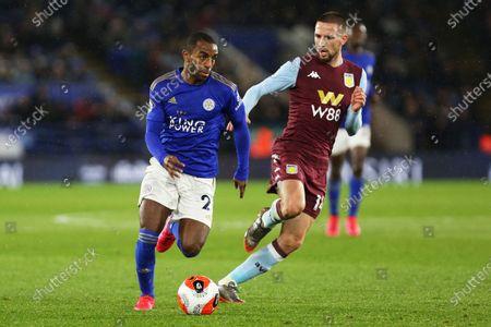Leicester City defender Ricardo Pereira runs past Aston Villa midfielder Conor Hourihane during the Premier League match between Leicester City and Aston Villa at the King Power Stadium, Leicester