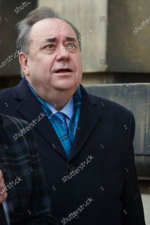 Stock Photo of Former Scottish First Minister Alex Salmond emerges from Edinburgh's High Court on the first day of his trial on charges of sexual assault and attempted rape.