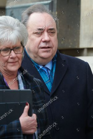 Stock Picture of Former Scottish First Minister Alex Salmond emerges from Edinburgh's High Court on the first day of his trial on charges of sexual assault and attempted rape.