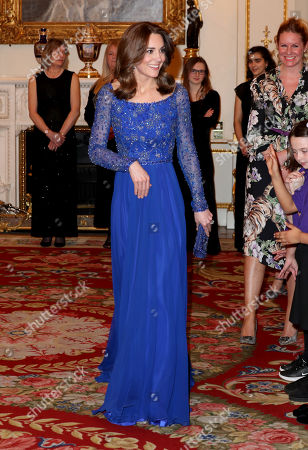 Stock Picture of Catherine Duchess of Cambridge hosts a Gala Dinner in celebration of the 25th anniversary of Place2Be at Buckingham Palace.