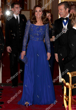 Catherine Duchess of Cambridge smiles as she hosts a Gala Dinner in celebration of the 25th anniversary of Place2Be at Buckingham Palace.