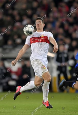 09.03.2020, Football 2. Bundesliga 2019/2020, 25.  match day, VfB Stuttgart - Arminia Bielefeld, in Mercedes-Benz Arena in Stuttgart, Mario Gomez (Stuttgart) .