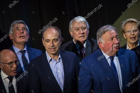 (L-R) Les Republicains (LR) party members, Eric Ciotti, Henri Guaino, Jean-Francois Cope, Claude Goasguen, Gerard Larcher and Michle Alliot-Marie attend a campaign rally to support Former French Justice Minister Rachida Dati (unseen), who is running as a candidate of the conservative Les Republicains (LR) party in the 2020 Paris mayoral election, in Paris, France, 09 March 2020. Municipal elections will be held across France on 15 and 22 March 2020 for the first and second rounds of voting, respectively.