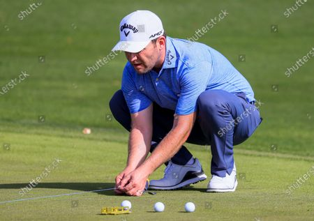 Branden Grace of South Africa snaps a chalk line on the practice green as he begins his preparations for THE PLAYERS Championship on the Stadium Course at TPC Sawgrass in Ponte Vedra Beach, Florida, USA, 09 March 2020. The contest will run from 12 to 15 March.
