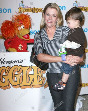 Melissa Joan Hart and son Braydon Hart Wilkerson with Red