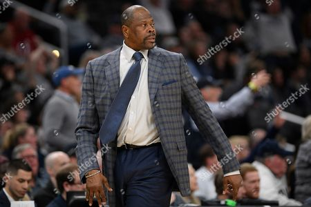 Georgetown head coach Patrick Ewing stands on the court during the second half of an NCAA college basketball game against Villanova, in Washington. Villanova won 70-69