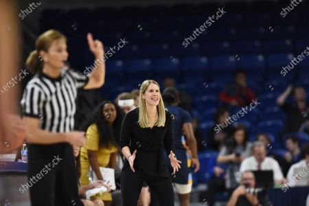 Stock Picture of Marquette Golden Eagles head coach Megan Duffy in action during the Big East Tournament Finals NCAA game between (1) DePaul vs (2) Marquette at Wintrust Area in Chicago, Illinois
