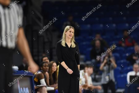 Stock Photo of Marquette Golden Eagles head coach Megan Duffy in action during the Big East Tournament Finals NCAA game between (1) DePaul vs (2) Marquette at Wintrust Area in Chicago, Illinois