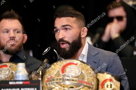 Patricio 'Pitbull' Freire speaks at a news conference promoting the Bellator Spring & Summer fight cards, in New York City