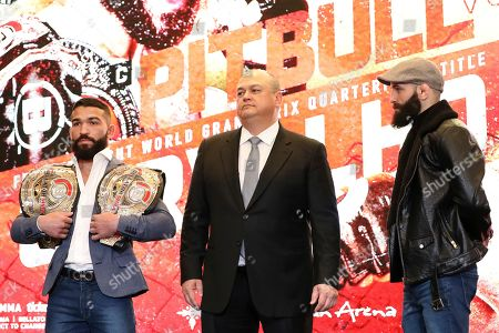 Patricio 'Pitbull' Freire, left, squares off with Pedro Carvalho at a news conference promoting the Bellator Spring & Summer fight cards, in New York City