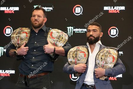 Ryan Bader, left and Patricio 'Pitbull' Freire is seen at a news conference promoting the Bellator Spring & Summer fight cards, in New York City