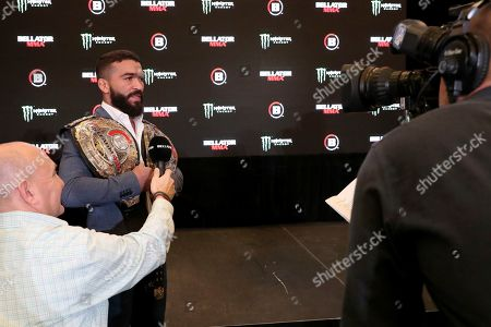 Patricio 'Pitbull' Freire speaks to the media at a news conference promoting the Bellator Spring & Summer fight cards, in New York City