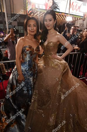 "Ming-Na Wen, Yifei Liu. Actress Ming-Na Wen, left, poses with ""Mulan"" star Yifei Liu at the premiere of the film at the El Capitan Theatre, in Los Angeles"