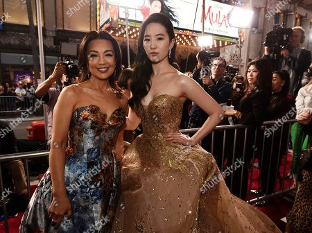 "Stock Image of Yifei Liu, Ming-Na Wen. Yifei Liu, right, star of the new live-action ""Mulan,"" poses with actress Ming-Na Wen at the premiere of the film at the El Capitan Theatre, in Los Angeles"