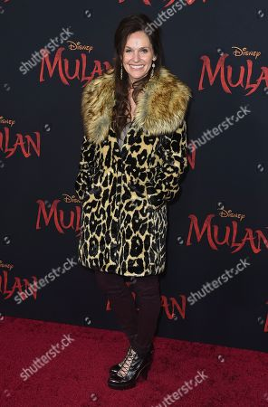 "Amy Brenneman arrives at the Los Angeles premiere of ""Mulan"" at the Dolby Theatre on"