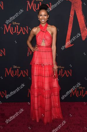 "Fola Evans-Akingbola arrives at the Los Angeles premiere of ""Mulan"" at the Dolby Theatre on"