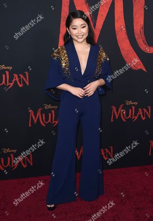 "Lana Condor arrives at the Los Angeles premiere of ""Mulan"" at the Dolby Theatre on"