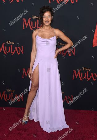 "Dania Ramirez arrives at the Los Angeles premiere of ""Mulan"" at the Dolby Theatre on"