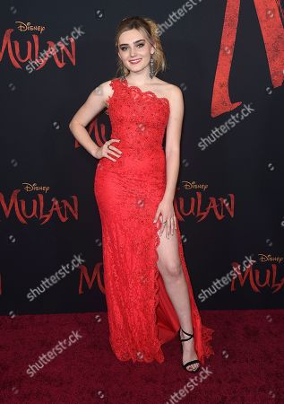 """Meg Donnelly arrives at the Los Angeles premiere of """"Mulan"""" at the Dolby Theatre on"""