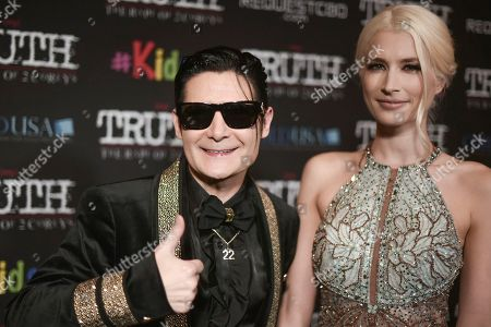 "Stock Image of Corey Feldman, Courtney Anne Mitchell. Corey Feldman, left, and Courtney Anne Mitchell attend the LA premiere of ""My Truth: The Rape of 2 Coreys"" at the Directors Guild of America, in Los Angeles"