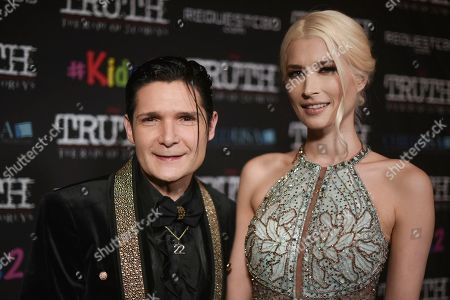 "Corey Feldman, Courtney Anne Mitchell. Corey Feldman, left, and Courtney Anne Mitchell attend the LA premiere of ""My Truth: The Rape of 2 Coreys"" at the Directors Guild of America, in Los Angeles"