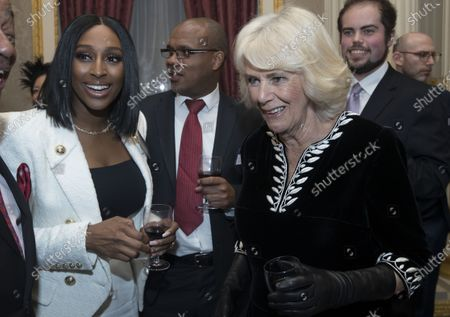 Camilla Duchess of Cornwall with Alexandra Burke at the Commonwealth Day Reception at Marlborough House