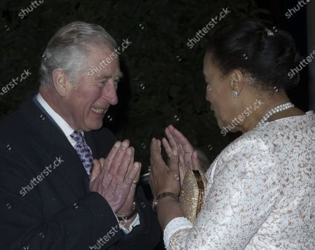 Prince Charles gives a Namaste greeting to Commonwealth Secretary-General, Baroness Patricia Scotland as he arrives at the lCommonwealth Day Reception at Marlborough House in London. It was thought that the Prince was using the greeting instead of shaking hands due to the Coronavirus