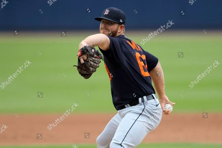 Stock Photo of Detroit Tigers pitcher David McKay throws to the Houston Astros during the fourth inning of a spring training baseball game, in West Palm Beach, Fla