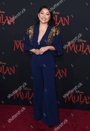 "Lana Condor arrives at the Los Angeles premiere of ""Mulan,"" at the Dolby Theatre"