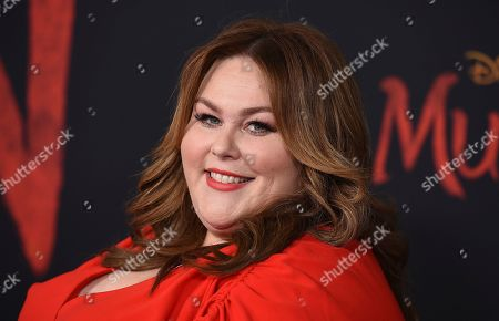 """Chrissy Metz arrives at the Los Angeles premiere of """"Mulan,"""" at the Dolby Theatre"""