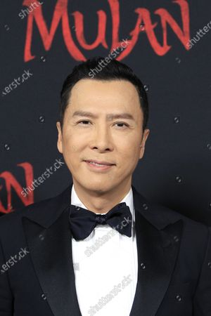 Donnie Yen arrives for the world premiere of the movie 'Mulan' at the Dolby Theatre in Hollywood, Los Angeles, California, USA, 09 March 2020. The movie opens in theatres in the USA on 27 March 2020.
