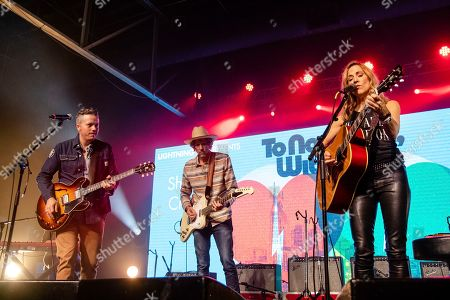 Sheryl Crow; Jason Isbell; Todd Snider. From left, Jason Isbell, Todd Snider and Sheryl Crow perform at the To Nashville, With Love Benefit Concert at Marathon Music Works, in Nashville, TN