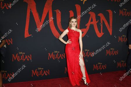 Meg Donnelly arrives for the World Premiere of Disney's 'Mulan' at the Dolby Theatre in Hollywood, Los Angeles, California, USA, 09 March 2020. The movie opens in US theaters on 27 March 2020.