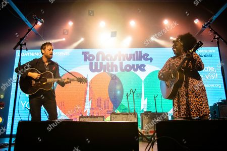 Dan Auerbach; Yola. Dan Auerbach,left, and Yola perform at the To Nashville, With Love Benefit Concert at Marathon Music Works, in Nashville, TN