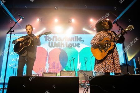 Dan Auerbach; Yola. Dan Auerbach, left, and Yola perform at the To Nashville, With Love Benefit Concert at Marathon Music Works, in Nashville, TN
