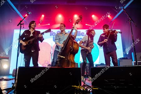 Stock Photo of Charlie Worsham; Morgan Jahnig; Ketch Secor. Charlie Worsham, from left, Morgan Jahnig, and Ketch Secor of Old Crow Medicine Show perform at the To Nashville, With Love Benefit Concert at Marathon Music Works, in Nashville, TN