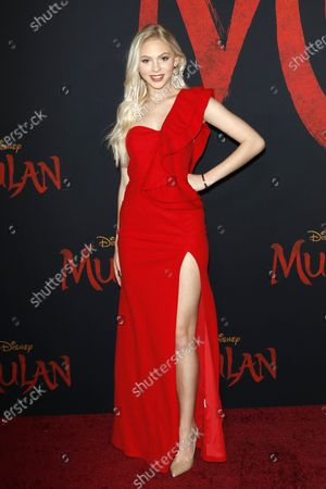 Jordyn Jones arrives for the World Premiere of Mulan at the Dolby Theatre in Hollywood, Los Angeles, California, USA, 09 March 2020. The movie opens in the US on 27 March 2020.