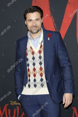 Stock Picture of Brett Dalton arrives for the World Premiere of Mulan at the Dolby Theatre in Hollywood, Los Angeles, California, USA, 09 March 2020. The movie opens in the US on 27 March 2020.