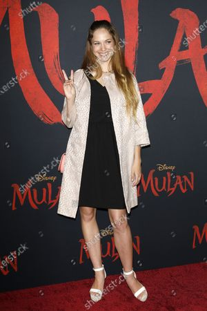 Stock Image of Alexis Knapp arrives for the World Premiere of Mulan at the Dolby Theatre in Hollywood, Los Angeles, California, USA, 09 March 2020. The movie opens in the US on 27 March 2020.