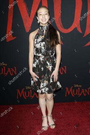 Aubrey Anderson-Emmons arrives for the World Premiere of Mulan at the Dolby Theatre in Hollywood, Los Angeles, California, USA, 09 March 2020. The movie opens in the US on 27 March 2020.