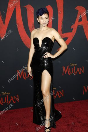 Jessica Henwick arrives for the World Premiere of Mulan at the Dolby Theatre in Hollywood, Los Angeles, California, USA, 09 March 2020. The movie opens in the US on 27 March 2020.