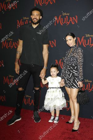 Stock Image of JaVale McGee arrives with his family for the World Premiere of Mulan at the Dolby Theatre in Hollywood, Los Angeles, California, USA, 09 March 2020. The movie opens in the US on 27 March 2020.