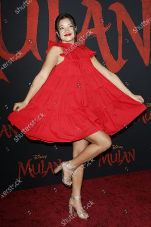 Peyton Elizabeth Lee arrives for the World Premiere of Mulan at the Dolby Theatre in Hollywood, Los Angeles, California, USA, 09 March 2020. The movie opens in the US on 27 March 2020.