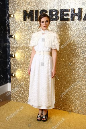 Keira Knightley, Gugu Mbatha-Raw, Suki Waterhouse, Keeley Hawes, Philippa Lowthorpe. Actress Keira Knightley, Gugu Mbatha-Raw, Suki Waterhouse, Keeley Hawes, Director Philippa Lowthorpe, poses for photographers upon arrival at the World Premiere of 'Misbehaviour' at a central London hotel